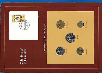 Coin Sets of All Nations Lebanon UNC 1975-1981 50 Piastres 1978 1 Livre 1981