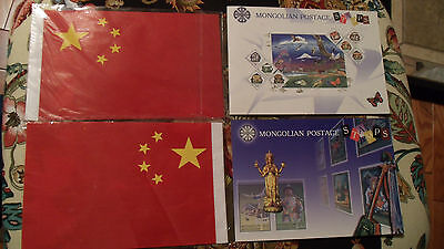 2 Mongolia Post pamphlets with 30 MNH Stamps (6 different sets) and 2 6x9 Flags