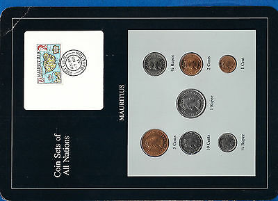 Coin Sets of All Nations Mauritius 1, 1/2, 1/4 Rupee, 10, 5, 2, 1 cents 1978 UNC