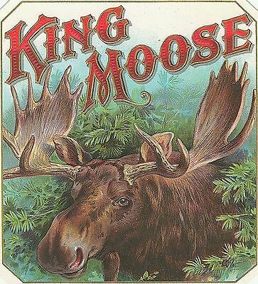 Great KING MOOSE ANTIQUE CIGAR BOX LABEL T SHIRT SMALL-XXXLARGE (F)