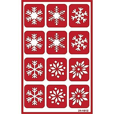 Armour Over n Over Self Stick Reusable Glass Etching Stencils ~ Snowflakes Snow