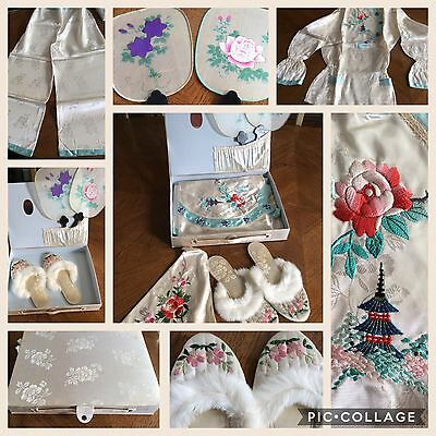 Vintage Japanese Souvenir Boxed Set Silk Pajamas Embroidered  Lingerie Slippers