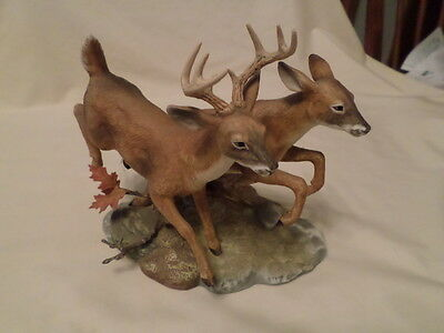 Home Interiors Classic Porcelain Figure Forest Run  White Tailed Deer 1992
