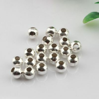 30 Pcs Plated silver Seamless Ball Spacer Bead 6mm DIY Jewelry