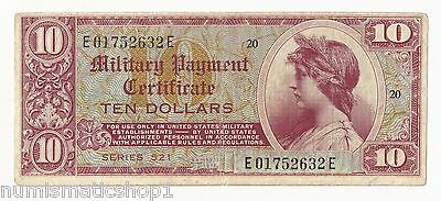 Scarce High Denomination MPC Series 521 $10 Dollar Military Payment Certificate