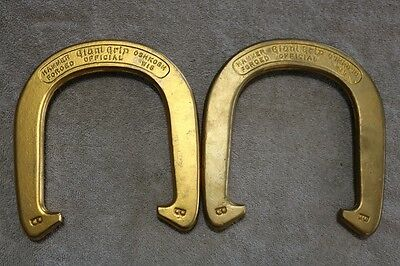 "Pair of Vintage Giant Grip ""Official"" Pitching Horseshoes with box and rules"