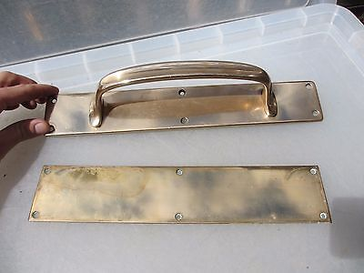 Antique Bronze Door Handles Pulls Set Finger Push Plates Shop Vintage Old 13""