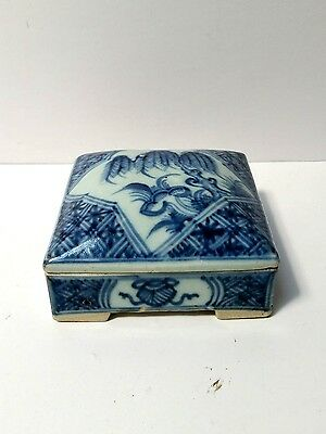 Antique Chinese Blue & White Porcelain Box & Cover