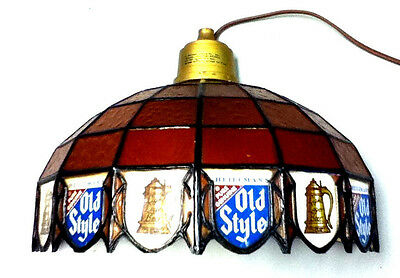 Old Style beer sign lighted wall sconce light stained glass l/k Heileman Brewery
