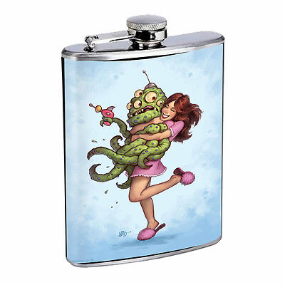 Vintage Alien Abduction D2 Flask 8oz Stainless Steel Hip Drinking Whiskey