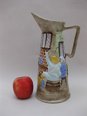 Vintage H.J Wood Pitcher / Jug / Vase ~ Relief Moulded ~ Tavern Scene ~ 1950's
