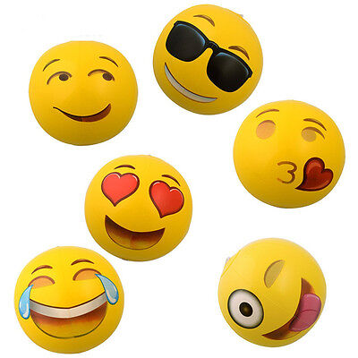 Emoji PVC Inflatable Beach Balls Yellow Yoga Expression Ball 12""