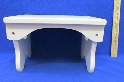 """Decorative Wood Step Stool Doll Bench Wooden White Plant Stand 7"""" Tall"""