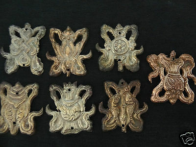 Antique  Mongolian Buddhist Copper Embossed Auspicious Symbols