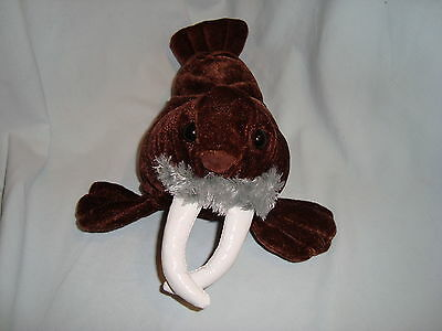 "Kellytoy WALRUS 10"" Short Plush Brown Stuffed Sea Animal White Tusks Soft Toy"
