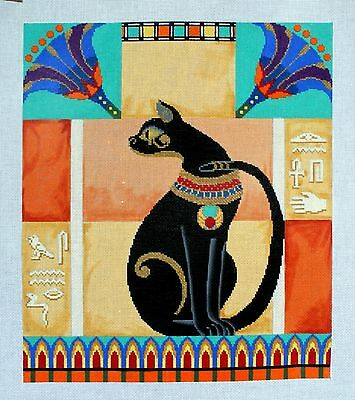 Bastet by Tapestry Fair Black Cat HP Needlepoint 18 ct canvas inc stitch guide