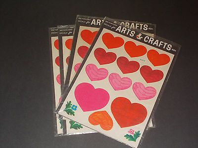 NIP Lot 4 Vintage Packages Of Heart Decals By Meyercord
