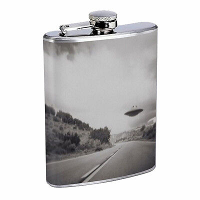 Vintage Alien Abduction D6 Flask 8oz Stainless Steel Hip Drinking Whiskey