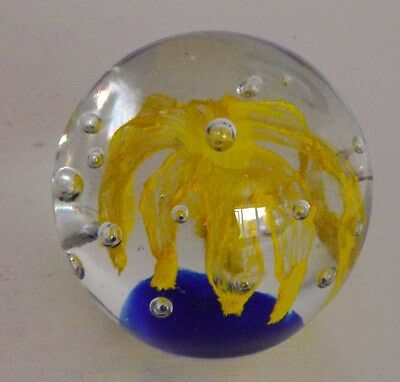 """Glass Paperweight Yellow Flower with Blue base--Height 3"""" Diameter at centre 3"""""""