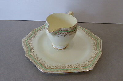 Lemon, green and gold Paragan Jug and Plate by Royal appointment of Queen Mary