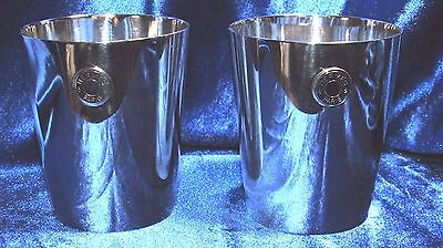 "c1970 Hermes Paris 2 - Silver Plated Travel Tumblers 3"" Tall EP"