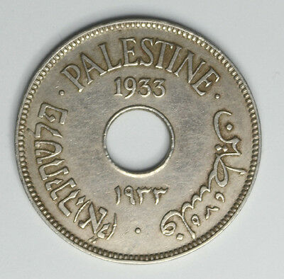 1933 Palestine 10 Mils  Low Mintage Only 500K Rare Coin