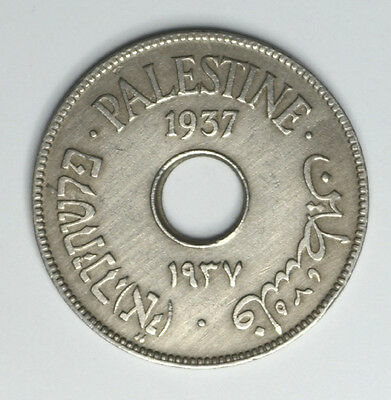 1937 Palestine 10 Mils  Low Mintage Only 750K Rare Coin