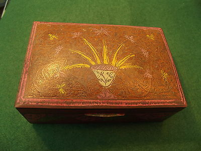 Vintage Brass Box With Painted Outside Wooden Inside