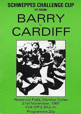 Nov 81 BARRY v CARDIFF  Schweppes Cup 1st Rd