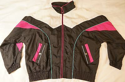 Vtg '94 WESTSIDE CONNECTION Windbreaker Jacket Track Black Pink - Womens XL -