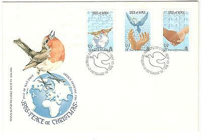 Isle of Man FDC 1986 Peace at Christmas Isle of Man Stamps