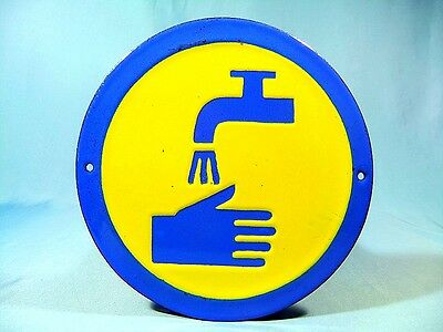 """Vtg Industrial Yellow & Blue Enamel Metal Sign Plate -""""Space for Washing""""-1960's"""