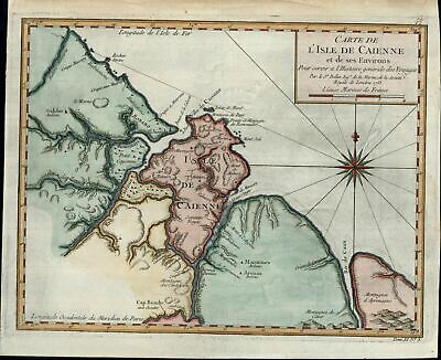 Cayenne French Guiana Atlantic Ocean 1753 Bellin old antique color map