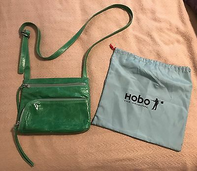 HOBO INTERNATIONAL Cross-Body Bag Handbag Green Leather with Dust Cover
