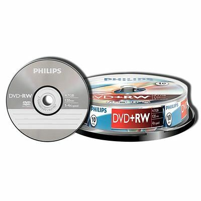 DVD+RW PHILIPS 10 DISCOS 4.7GB 120 MINUTOS 1-4x  DVD+RW REGRABABLES PACK 10 DISC