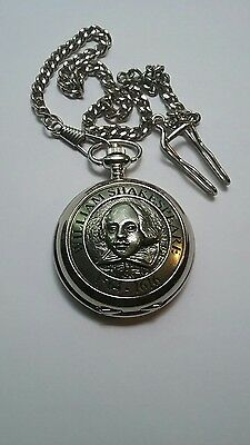 William Shakespeare 1564 1616 Pocket Watch with Chain  by ADIMAX.  Looks New