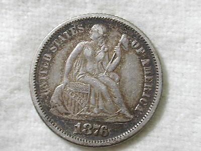 1876-S U.S Liberty Seated Dime Variety 4 About Uncirculated