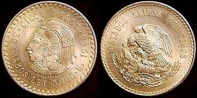 1948 Mexico Aztec Cuahtemoc Large 5 Pesos Silver Mexican Coin => PRICE REDUCED
