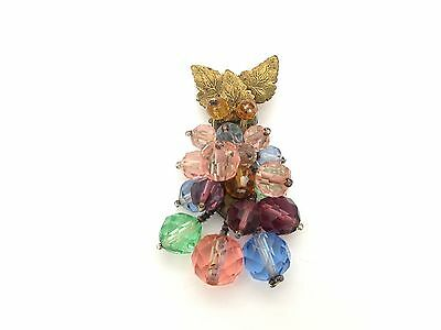 Marvelous Old Brass Dress Clip Beaded w/Colorful Crystal Beads - Haskell?