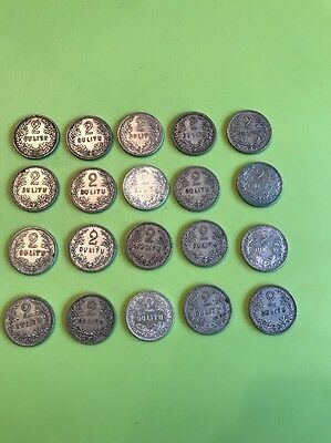 The Lot Of 20 Silver Coins 2 Litu 1925 Year Lithuanian Coins