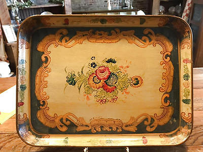 Vintage Hand Painted Paper Mache Toleware Tray - Made In Japan