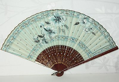 Vintage Handpainted floral gold lacquered wood? chinese paper hand fan