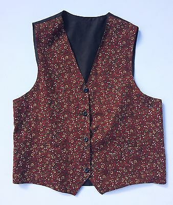 Vintage 80s 90s Dark Red Cotton Chintzy Floral Waistcoat 10 12