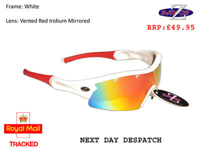 RayZor Uv400 1 Piece White Vented Red Mirrored Cricket Wrap Sunglasses RRP£49