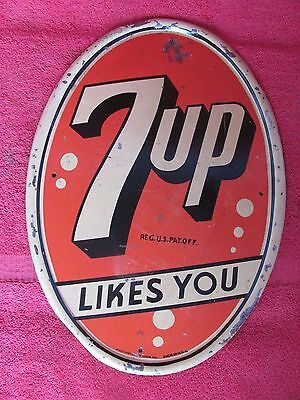 Old Vintage 7Up Likes You Soda Pop Advertising Sign By Stout Rare Oval Shape Wow