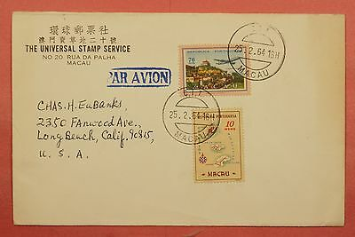 1964 Macau Portugal Airmail Cover Stamp Dealer To Usa