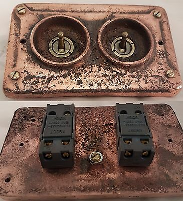 NEW Vintage Industrial 2 Gang Copper Faceplate (for Wall Boxes) - BS EN Approved