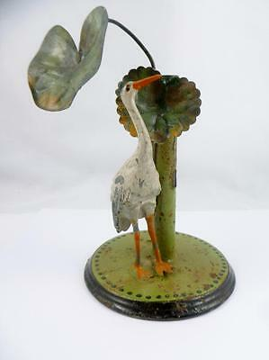 Quirky Antique Victorian Painted Metal Tin Emu Bird Spill Vase / Desk Item c1880