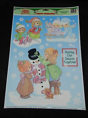 Precious Moments Christmas Static Cling Window Decorations Vintage  **nos**