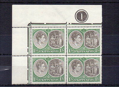 ST KITTS 1950 GVI 1/- PERF 14 ( CHALKY ) SG75c PLATE BLOCK OF 4 MNH CAT £68